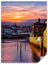 """Golden sunset at Whitby"", Print"