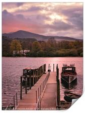 """Derwentwater jetty and boats"", Print"