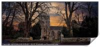 """""""Evening at St.Mary's Church Blanchland"""", Print"""