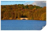 Autumn view of reservoir  lake in Staffordshire, Print