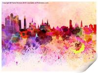 Moscow skyline in watercolor background, Print