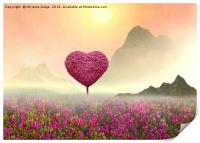 the Little pink heart tree , Print