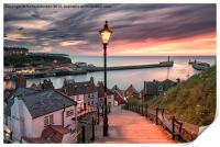 A summer sunset over Whitby pier, Print