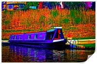A digitally converted painting of a canal barge in, Print