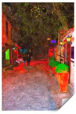 cobbled back streets of Kaleici in Antalya Turkey, Print
