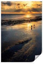 Sunset Strolls, Worthing Beach, Print