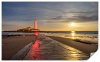 Red lighthouse at night Sailors delight, Print