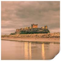 Reflections at Bamburgh Castle, Print