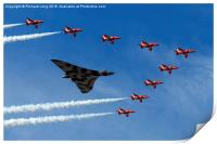 Red Arrows Tribute to the Vulcan Bomber , Print