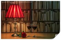 Table lamp and rose, Print