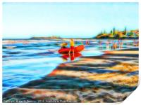 Surf Life Saving on beautiful beach, Print