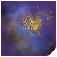 Gold star with purple  mandala, Print