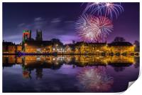 Firework display over town and river, Print