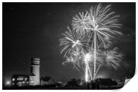 Amazing fireworks at night over lighthouse, Print