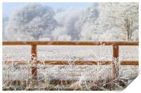 Rural winter snow scene and fence, Print