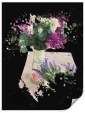 Torn Love Letter and Exploding Flowers, Print