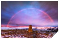 Winter rainbow over Mam Tor summit, Derbyshire, Print