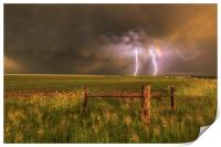 Double rainbow and lightning, Print