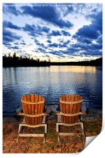 Wooden chairs at sunset on lake shore, Print