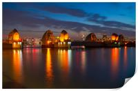 Thames Barrier at night, Print