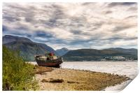 Corpach Wreck with Ben Nevis , Print