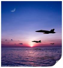 Fighters at sunset, Print