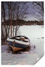 Fishing Boat Under Snow, Print