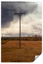 Telephone Pole Under The Heavy Clouds, Print