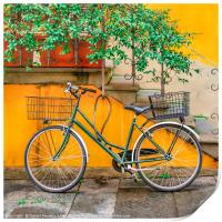 Bicycle Parked at Wall, Lucca, Italy, Print