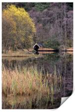 Old Boathouse on Loch Chon, Scotland, Print