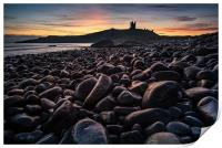 First light on the rocks at Dunstanburgh Castle, Print