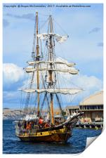 Tall ship arriving at Hobart harbour Tasmania, Print