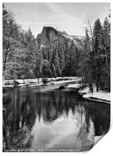 Dramatic winter view of Half Dome., Print