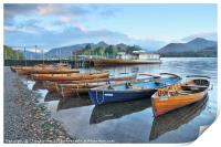 Derwentwater boats at sunrise, Lake District, Print
