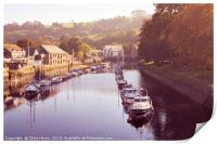 Boats on the River Dart at Totnes, Print