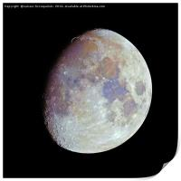 Waxing gibbous color Moon on black sky, Print