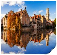 Canals and Buildings of Bruges in Belgium in autumn, Print