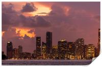 Miami City Downtown district buildings at sunset, Print