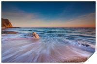 Serene South Dorset Beach and Sea at Sunset , Print