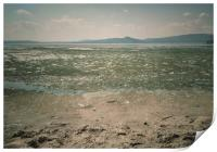 Spring landscape with ice drift on the lake.  , Print