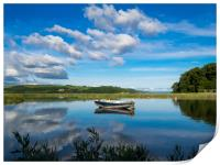 The Blue Boat and Reflections - Laugharne Estuary., Print