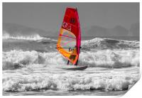 Windsurfing on Newgale Beach - Selective Colour., Print