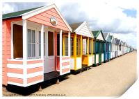Colourfull Beach Huts at Southwold in Suffolk, Print