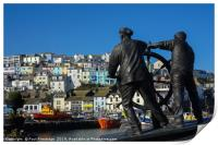The Man and Boy Statue in Brixham                 , Print