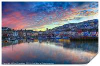 Twilight at Brixham                              , Print