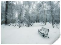 Snow-covered city park with a lonely bench, Print