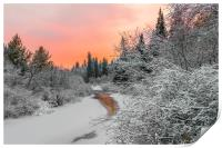 Evening sky over a frozen forest river, Print