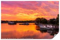 Sunset over the Itchen River in Southampton, UK, Print