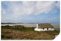 Building, Cottage, Thatched, White walls, Print