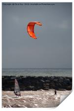 A kite surfer and wind surfer, Print